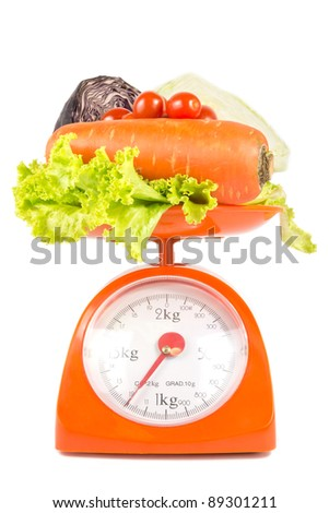 many fresh vegetables lying on weight scale