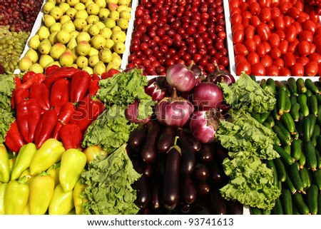 Many fruits and vegetables. Colourful composition.