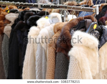 many fur for sale in the expensive furrier's shop