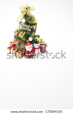 Many gift box of christmas and christmas tree