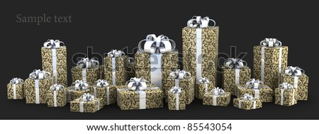 many gift boxes with ribbon isolated on black background 3D render ( high resolution )