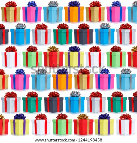 Many gifts collection presents Christmas background square birthday gift present isolated on a white background