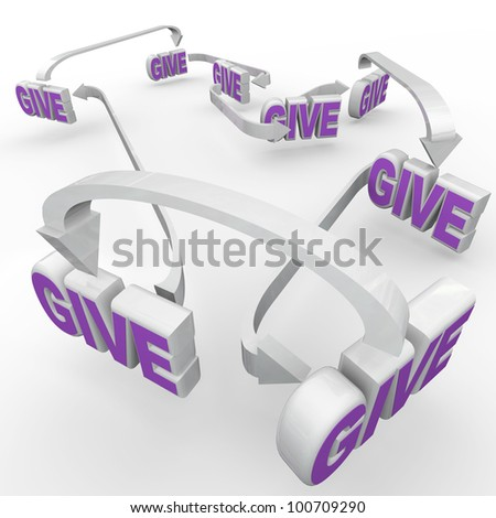Many Give words connected by arrows representing fund-raising and spreading the word of relief efforts and charitable volunteer work