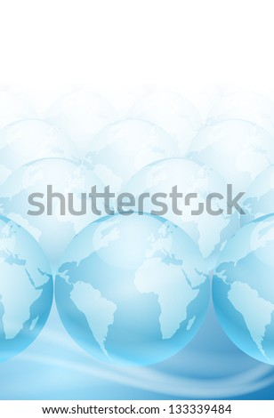 Many globes on a blue background with place for text. Raster version of the loaded vector.