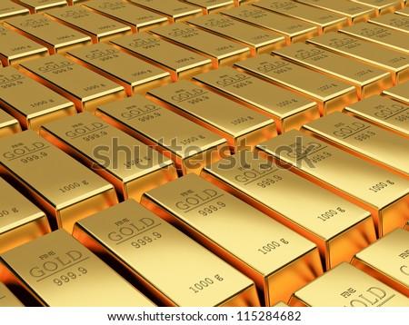 Many Gold bars background