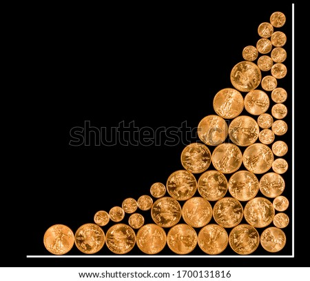 Many gold coins arranged as a graph to illustrate the rise in price of pure gold as an investment