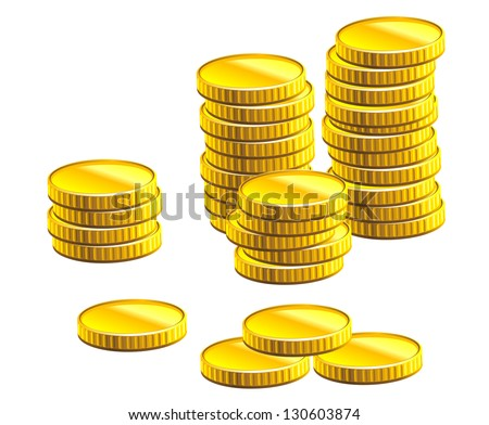 Many gold coins isolated on white background for business and economic concepts design. Vector version also available in gallery