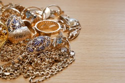 many golden and silver jewerly with copy space, pawnshop concept, jewerly shop
