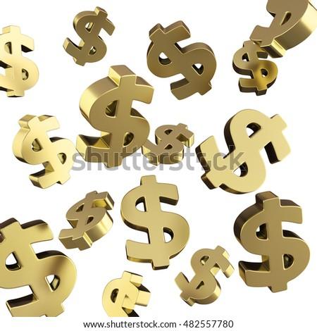 many golden dollar sign fly 3d render on white