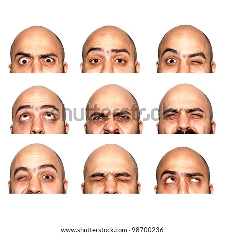 many half faces eyes expressions on white background