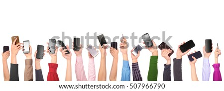 Many hands holding mobile phones isolated on white background