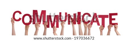 Many Hands Holding the Red Word Communicate, Isolated #197036672