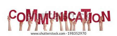 Many Hands Holding the Red Word Communication, Isolated #198352970
