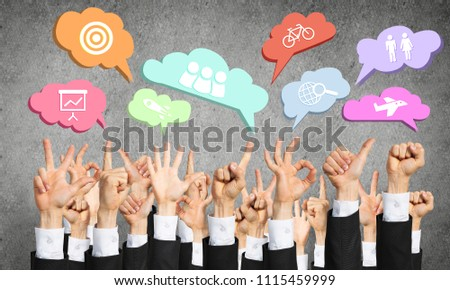 Many hands of businesspeople showing different gestures #1115459999