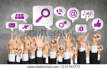 Many hands of businesspeople showing different gestures #1115763773