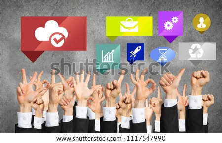 Many hands of businesspeople showing different gestures #1117547990