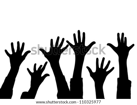 Stock Photo Many Hands Up Colorful Silhouettes Of Kids