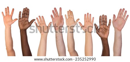 many hands up isolated on white ...