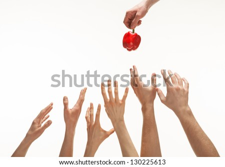 Many hands wanting to get pepper