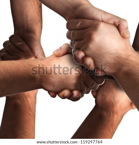 many handshake isolated on white background High resolution