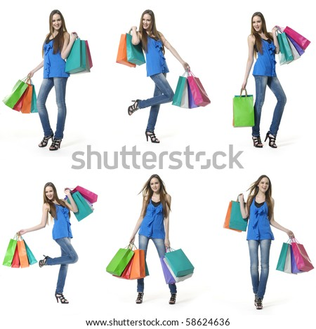 many happy shopping girl full body, collage