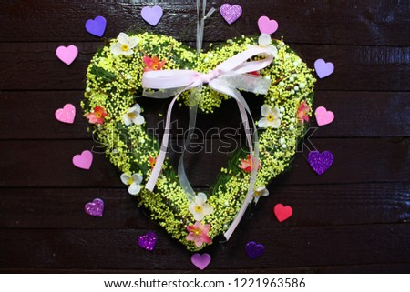 many hearts on wooden floor #1221963586