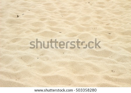 Many holes after footprints in the beach sand background    #503358280
