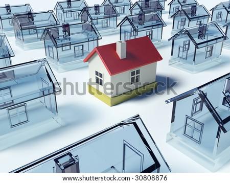Many houses. 3D render scene.