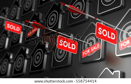 Many houses symbols over black, Three of them are pierced by an arrow in the center of the target. 3D illustration concept of real estate and property search