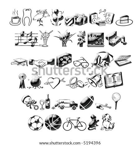 many icons vector - stock photo