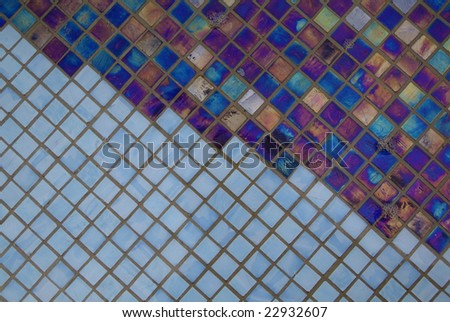 many iridescent blue and sky blue tiles