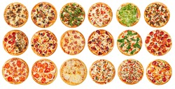 Many isolated assorted pizzas on the white background collage menu design