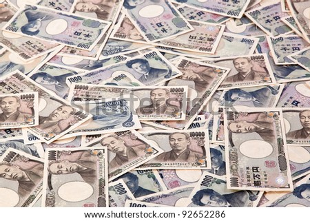 many japanese yen, the currency bills. japan money