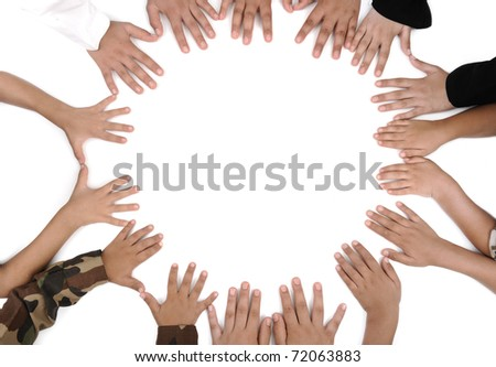 Many kids hand on white background for your text