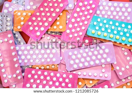 Many kind of contraceptive brand, colorful of birth control pills for women, medicine and drug concept #1212085726