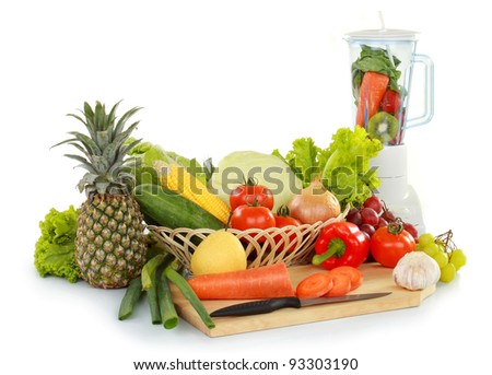 many kind of fresh fruits and vegetables with kitchen appliances isolated on white background