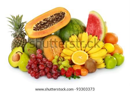 many kind of fresh fruits isolated on white background