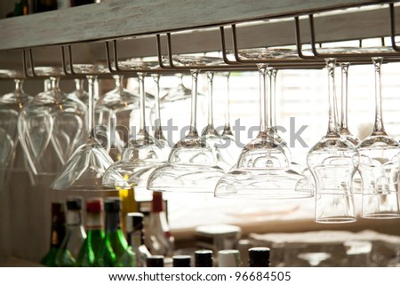 many kind of glasses on the bar closeup