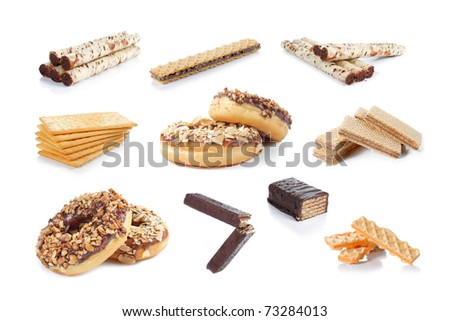 many kind of snack collection isolated on white background
