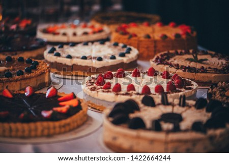 Many kinds of Cheesecakes, vintage color tone