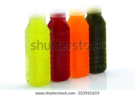 Many kinds of fruit juice in the bottle.