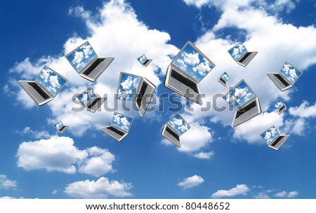 Many Laptops are flying with clouds