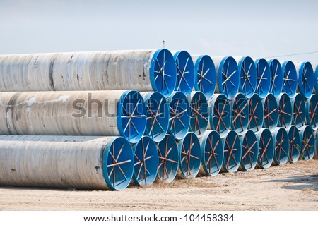 Many large water pipes