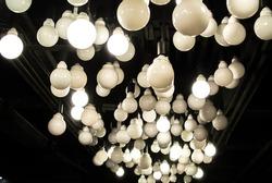 many light bulb in dark. light bulb art abstract
