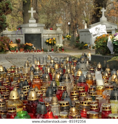 many lights on cemetery during All Saints Holiday, Krakow, Poland