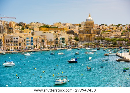 many little yachts and boats from plan wiev to the bay near Valletta in Malta Stock fotó ©