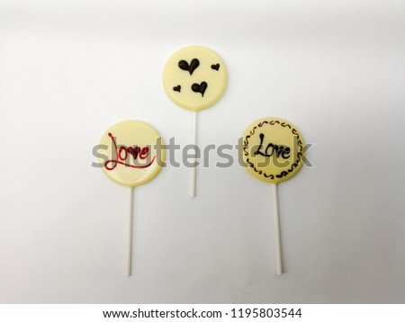 many lollipops in different design, love, hearts on white background #1195803544