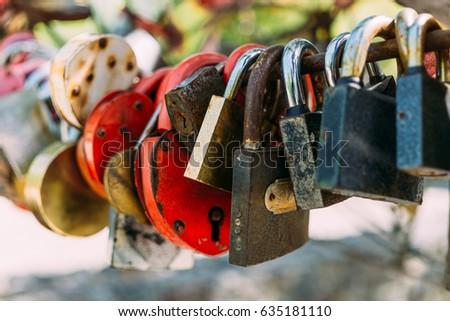 Many love locks or padlocks, selective focus, copy space, symbol of loving hearts concept #635181110