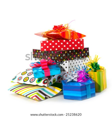 Many luxury wrapped presents isolated over white