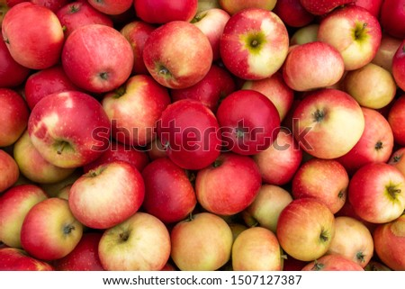 Many many apples together in the box